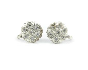 Vintage Rhinestone Earrings, Screw Backs