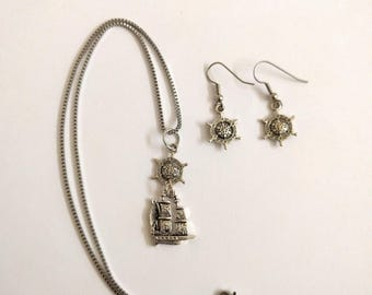 Nautical Pirate ship necklace silver tone ships wheel earrings boat sailboat box chain clipper steampunk jewelry