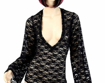 Black Lace Sheer See Through Plunging V Neckline Romper with Bell Sleeves Rave Festival Onsie 154625