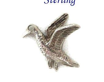 Sterling Silver Bird Charm, Vintage 3D Flying Bird Pendant, Charm Bracelet, Stocking Stuffer, Gift Box, FREE SHIPPING