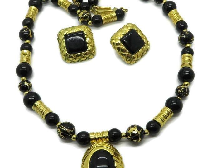 Liz Claiborne Necklace, Earrings, Vintage Black Gold Demi Parure Signed Claiborne Jewelry