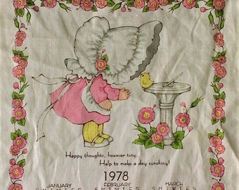 Vintage 1978 Calendar Tea Towel - Pink Yellow White Floral - Linen Girl Bonnet Chick
