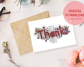Thanks! Instant Digital Download Printable 5x7 Thank You Print by LostBumblebee
