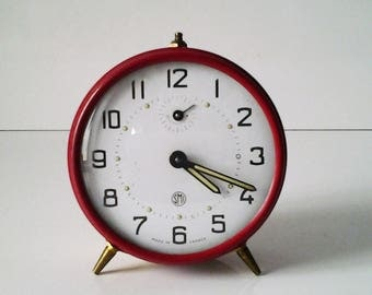 vintage french mecanic alarm clock SMI Made in France //vintage home decor //old French watchmaking // collection