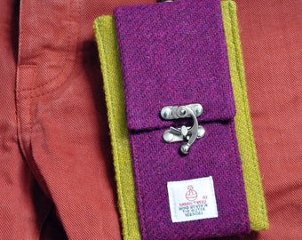 HARRIS TWEED fabric small phone case/card holder -  with trouser clip