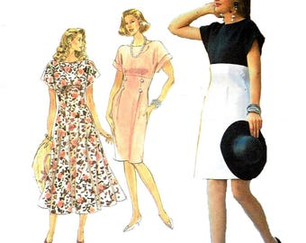 Vintage 1990s Sewing Pattern Simplicity 7258 Misses' Petite One Piece Dress With Full Or Slim Skirt