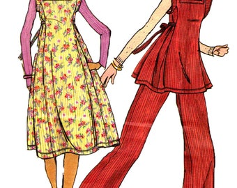 Uncut Sewing Pattern Butterick 4427 Vintage 1970s Betsey Johnson Misses' Hippie/Boho Top, Dress And Pants