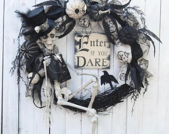 "SOLD OUT FOR 2017   28"" Halloween wreath, Steampunk Skeleton Halloween Wreath, Enter if you Dare, Skeleton Wreath, Halloween Decoration"