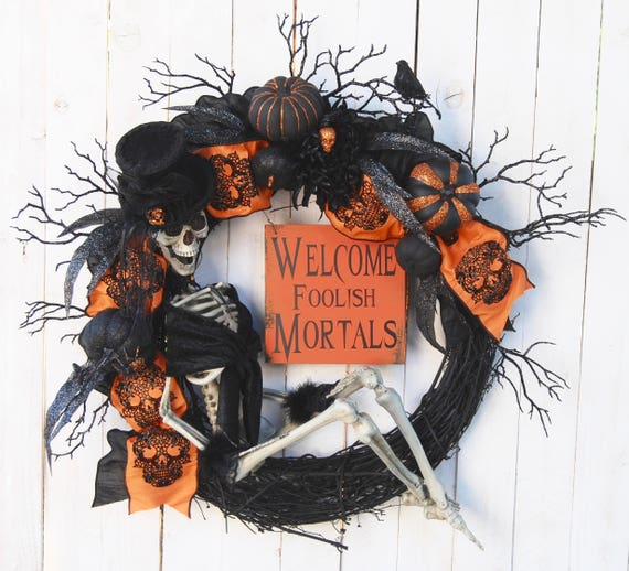Mrs. Bones Skeleton Halloween Wreath