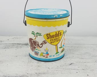 Shedd's Peanut Butter Tin, kitchen, children, collectible, fun, games, colorful