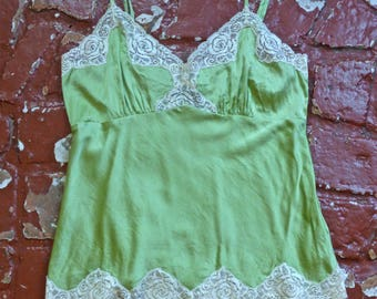 Green Silk Lace Camisole