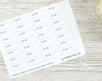 To Do Dashed Scalloped Quarter Box Planner Stickers; Vinyl Matt Stickers; Erin Condren Sized; Happy Planner; Filofax; Kikki K