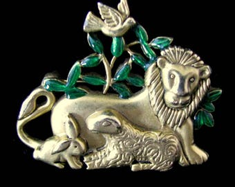Danecraft Lion and Lamb Christmas Brooch Gold Tone Holiday Pin Sculpted Pewter Green Cabochon Stones Vintage Jewelry Costume Designer 1970's