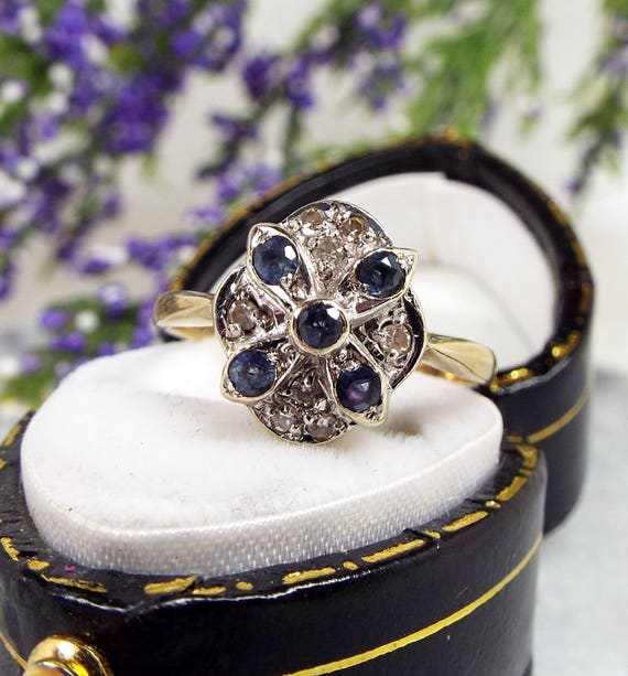 Vintage Art Deco Style 9ct Yellow Gold Blue Sapphire Diamond Cluster Ring Size N 1/2