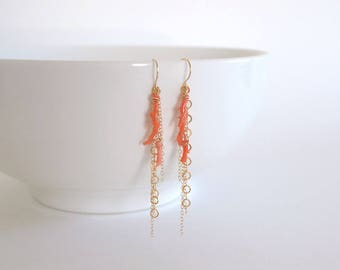 Peach Coral Branch Cluster Chain Earrings, Gold Filled
