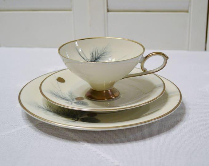 Vintage Edelstein Tea Trio Teacup Saucer Plate Dish Gray Gold Pine Cone Bavaria PanchosPorch