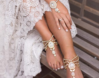 Bali Barefoot Sandals in Gold Rhinestone Anklet Foot Jewelry for the Bride Beach Wedding Sandals Boho Bride Sandals Gold Anklet Bridal Shoes