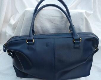 Blue leather Messenger type bag.
