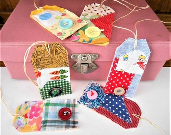 6 Patchwork Fabric Tags, Luggage labels, Gift Tags, Handmade Tattered Gift Tie Ons, All Occasion Hang Tags, Handcrafts, Scrapbook labels.