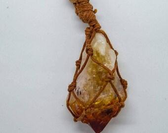 Genuine, raw citrine crystal point,micro-macrame pendant necklace.Boho,healing,reiki chakra balancing jewellery jewelry.spiritual,meditation