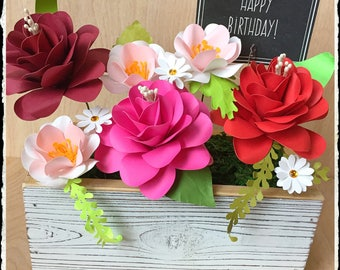 Happy Birthday Paper Flower Arrangement - Paper Roses - Paper Daisies - Handmade Floral Arrangement - Party Centerpiece