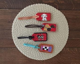 luggage tag leather, doggie stocking stuffer, dog lover gift, veterinarian gift, labrador retriever, dalmation, black lab, golden lab