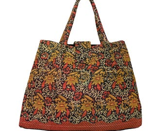 KANTHA Bag - Large - Orange, Ochre, Off White design on Black