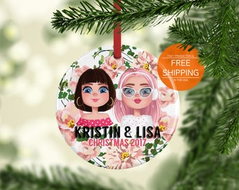 Custom bff ornament, best friend Christmas gift, personalized gift for friend