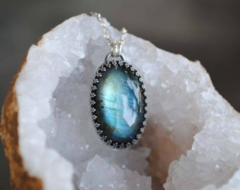 Sterling Silver Labradorite Necklace - Labradorite Jewelry