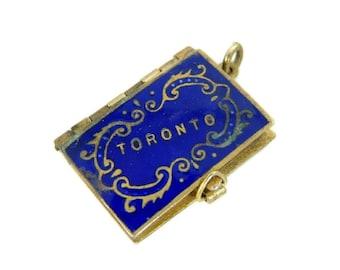 Antique Toronto Enamel Photo Album Charm Canada Souvenir c1900