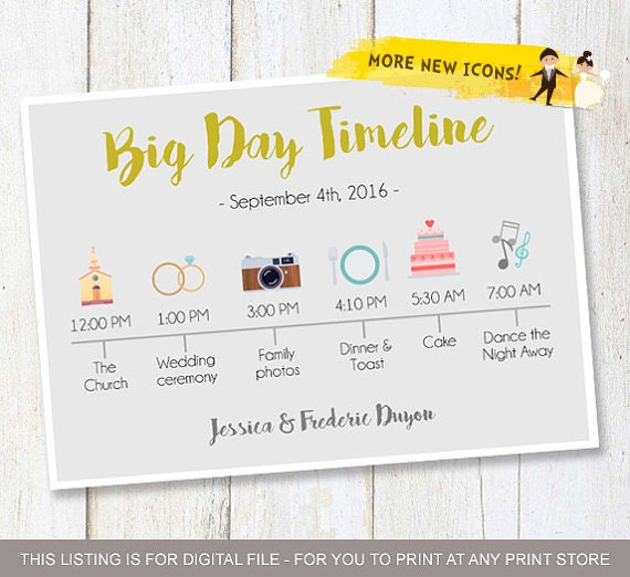 Custom Big Day Timeline Program Wedding Timeline