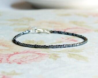 Hematite Seed Bead Bracelet, Stacking Bracelet, Beaded Bracelet, Cube Beads Bracelet, Minimalist Bracelet, Dainty Bracelet, Simple Bracelet