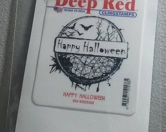Happy Halloween Rubber Stamp - Cling Rubber Stamp by Deep Red