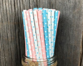 Gender Reveal Paper Straws, 100 Party Straws, Pink and Blue Dot, Party Supply, Baby Shower, Birthday Paper Goods, Cake Pop Sticks, Tableware