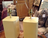 Pair of Yellow Mid-Century Table Lamps