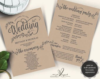 Rustic Wedding Program PDF card template, instant download editable printable, Ceremony order card in calligraphy floral theme (TED372_4)