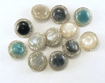 12 - 18 mm Vintage Lucite Shank Buttons - Confetti Glitter Lucite Buttons - Glitter Buttons