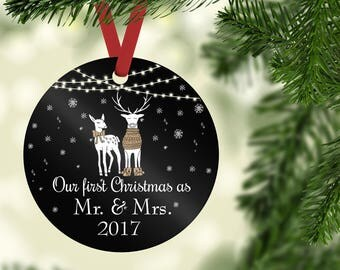 Wedding Christmas Ornament,First Christmas as Mr and Mrs,Personalized Wedding Ornament,Ornament wedding gift,Deer Ornament,Just married_COO4