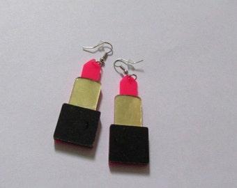 PINK lipstick earrings.  Novelty. Cosmetics Make-up artists jewellery. UK SELLER