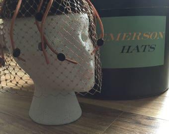 NEW PRICE!! Stunning Mid-Century brown velvet veiled woman's hat.