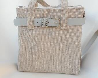 Handmade tote bag cream/gtey