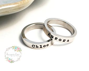 MOTHER RING ~ Stainless Steel Mommy Ring ~ Personalized ~ Stamped Kid's Name ~ Skinny Stacking Ring ~ Anniversary ~ Mom ~ Mama Bear Gift
