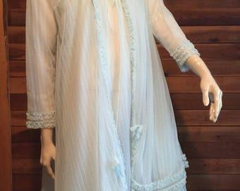 Vintage Lingerie 1970s Aqua Chiffon Size Medium Nightgown and Robe Set