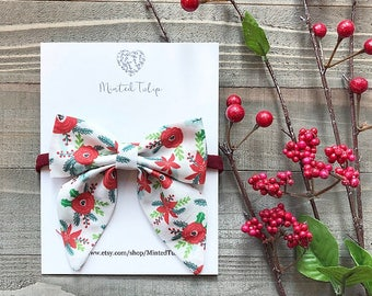 CLEARANCE Christmas Poinsettia Floral Print Small or Large Sailer Bow on Nylon Headband or Hair Clip Baby Toddler Kids