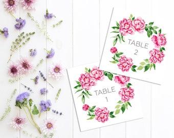 Printable Peonies Table Numbers - Floral Wedding Table Numbers - Flowers wedding table numbers - Table Names - Floral Wedding Table