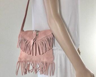 Pink Suede Leather Purse, Bag, Fringed, Small, Shoulder Bag, Beaded