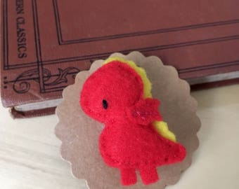 Hand embroidered felt brooch - Esther the Dragon
