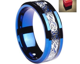 Ring AND Personalized High-Gloss Ring Box -- 6mm OR 8mm Blue Tungsten Carbide Wedding Band Ring With Silver OR Gold Celtic Dragon Inlay