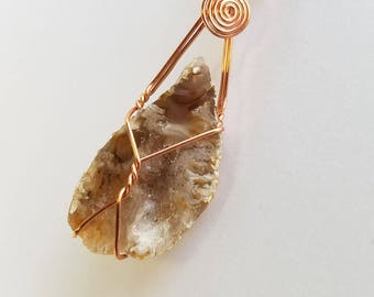Raw Geode Necklace, Raw Agate Geode, Druzy Geode, Copper Wire Jewelry, Wire Wrapped Pendant, Crystal Geode