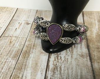Druzy bracelet- Lilac Malay Jade bracelet- wire cuff bracelet- stretch bracelet- wire bracelet- beaded bracelet- gifts